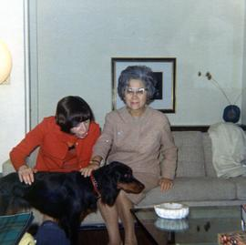Ann & Elaine petting a dog