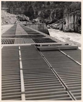 Metal grid foot bridge at Hell's Gate - Fraser River Canyon