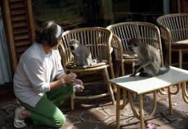 Phyliss Snider with two monkeys