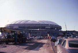 Exterior of BC Place under construction