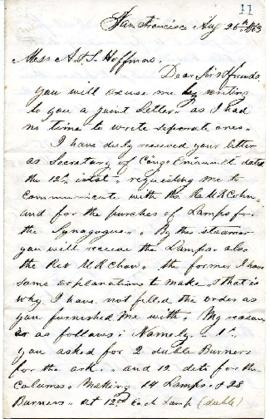 A. Blackman to A. and S. Hoffmans - report on orders placed for synagogue furnishings - August 26, 1863