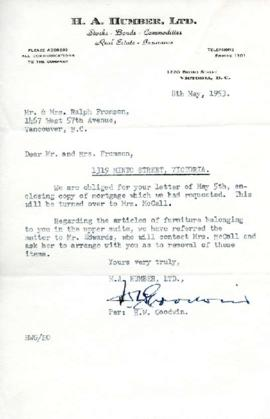 Letter from H.A. Humber, LTD, May 8, 1953
