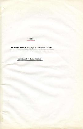 1951 - Fariview Branch No. 178 - Canadian Legion - President - I. E. Berner