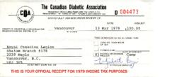 Canadian Diabetic Association Summer Camp Donation 13 Mar 1979 - March 16, 1979