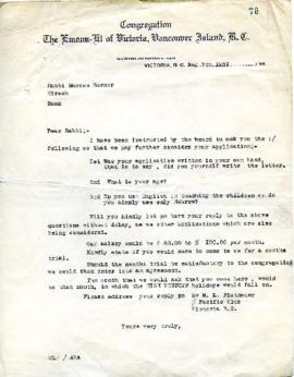 M. L. Platnauer to Rabbi M. Berner requesting further information for an application - August 7, 1931