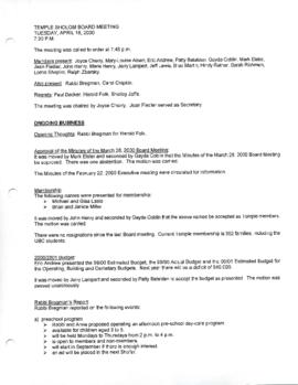 Minutes for Board Meeting, April 18, 2000