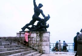 Statue of St. George killing the dragon on Gellért Hill, the Buda side of Budapest