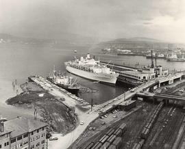 "Aerial view of piers, ""Oriana"" docked"