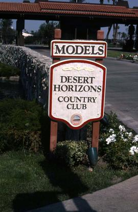 "Sign that reads: ""Models, Desert Horizons Country Club"""