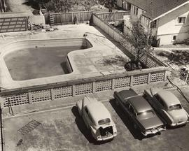 'The Hollies' ext. & int. set, car park and pool