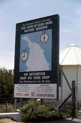 "Sign stating ""The Division Council of the Cape: Cape of Good Hope Nature Reserve"""