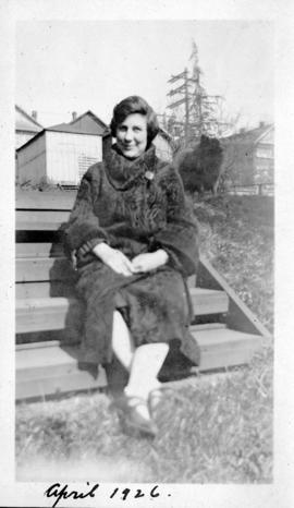 Rose Soskin seated on stairs