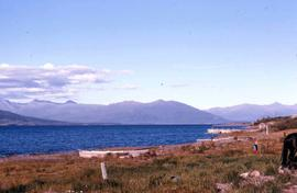 Boats resting on the shores of Atlin Lake, B.C.