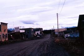 "Road in Atlin, B.C showing buildings such as the ""Gold Nugget Motel"" and ""Sands Ge..."