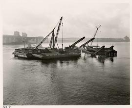 No. 9 - Second Narrows Bridge, Two Barges with Cranes, course of construction