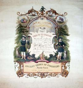 [Ancient Order of Foresters certificate for Frank Sylvester]
