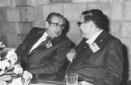 Canadian Zionist Federation Past President Hyman Besse seen during convention session with Dr. Le...
