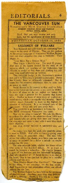 Newspaper Clipping - October 26, 1932