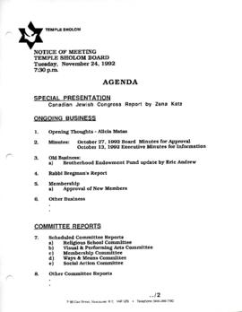 Minutes for Board Meeting, November 24, 1992