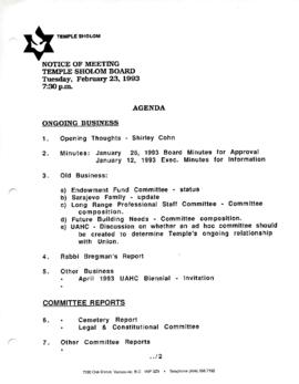 Minutes for Board Meeting held on February 23, 1993