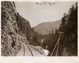 Mountainside view along Pacific Great Eastern Railway