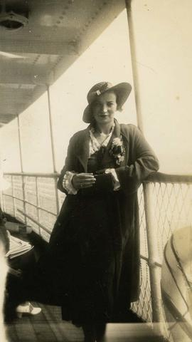 [Esther Dayson on the deck of a ship]