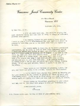 Letter from Ann, September 27, 1931