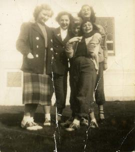 Dolly with four unidentified girls