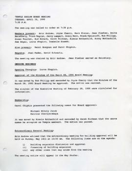 Minutes for Board Meeting, April 26, 1995