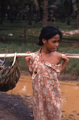 Girl carrying a balancing stick on her shoulders with thatched baskets at each end