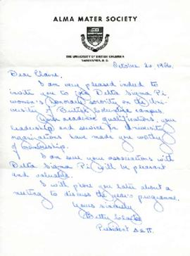 Letter of acceptance into Delta Sigma Pi, October 20, 1956