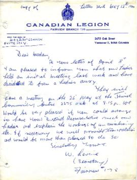 Canadian Legion Letter from Mrs. D. McLennan May 12. 1960