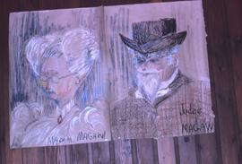"Two drawings, one of a man and the words: ""Judge Magaw"" and the other of a woman and th..."