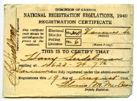 Registration Certificate - August 19, 1940