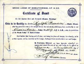 Certificate of Demit, March 19, 1948