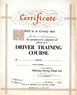 Driver Training certificate, January 23, 1953