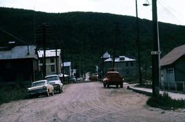 Street intersection in Dawson City, one of the streets being 1st Avenue