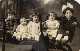 Photograph on postcard stock showing five children from the Nemetz, Karasov, and Mallin families