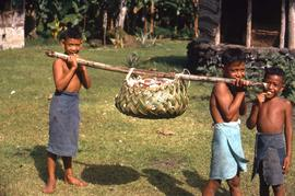 Three boys carrying a beam with a thatched basket
