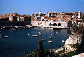 Boats at sea and Dubrovnik's Old Harbour