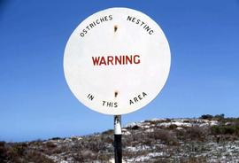 "Sign stating ""Warning ostriches nesting in this area"""