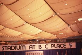 "Interior of BC Place with a sign in the foreground that reads: ""Stadium at BC Place"" an..."
