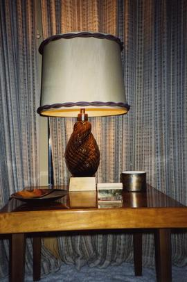 [Lamp on a table in what is likely the Snider's home]