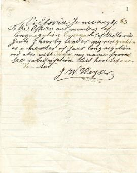 J.W. Deyser to Congregation tendering his resignation - January 17, 1863