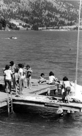 Children on dock at Camp Hatikvah