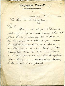 Rev. Dr. E. Friedlander requesting explanation of events surrounding a burial - April 30, 1913