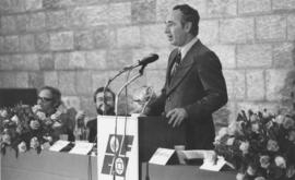 Shimon Peres delivers major convention speech at Binayanei Ha-Doma, at left, photo 'D'