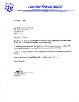 Sympathy letter from  Mark Nussbaum, President of the Louis Brier Home and Hospital, February 2, ...