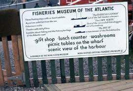 "Sign which reads: ""Fisheries Museum of the Atlantic"""