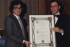Leon Judah Blackmore receives certificate from Jewish National Fund